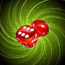 punaset nopat vihreällä taustalla
